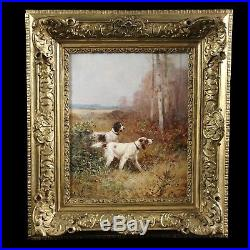 Fine original French antique oil painting on canvas hunting dog(s) frame 19th