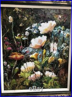 Floral, European Fine Art Knife, Oil on Canvas Original Framed