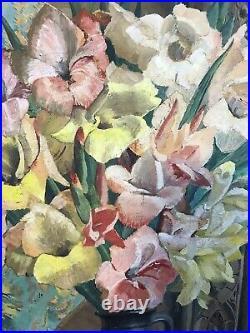 Floral Still Life Oil On Canvas Signed GFM Cox Antique Vintage Painting 1930s