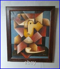French Oil on Canvas, Cubist Painting of a Man With Pipe