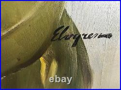 GIL ELVGREN Original Painting SITTING PRETTY LOLA Pin-Up CORSET pinup STOCKINGS