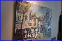 George Hann Original Oil Painting on Canvas Paris Street Scene Signed