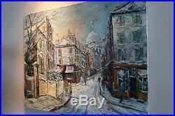George Hann Original Oil Painting on Canvas Paris Winter Street Scene Signed