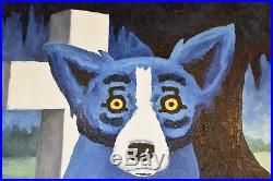 George Rodrigue Blue Dog Original 1995 Acrylic on Canvas Cajun Graveyard