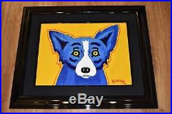 George Rodrigue Blue Dog Original 2001 Acrylic On Canvas Art Yellow Background