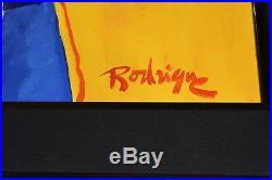 George Rodrigue Blue Dog Original 2001 Acrylic On Canvas Yellow Background