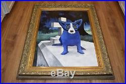 George Rodrigue Blue Dog Original Acrylic On Canvas 1995 Cajun Loup Garou