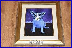 George Rodrigue Blue Dog Original On Linen 1991 One Of A Kind Rare