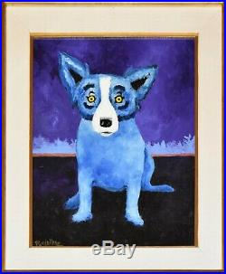 George Rodrigue Blue Dog Original On Linen 1991 One Of A Kind Rare Painting