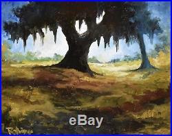 George Rodrigue Blue Dog Original Untitled Landscape Oil on Canvas Signed Art