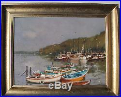 Glenys Jones Original Oil On Canvas /b/ Moored Boats -framed