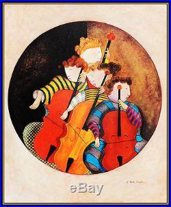 Graciela Rodo BOULANGER Original Oil Painting on Canvas Signed Musicians Art
