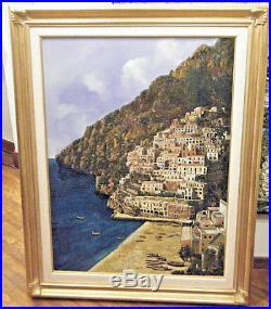 Guido Borelli Original 1979 Large Oil On Canvas Painting Mediteranian Coast