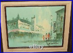 H. Lemon Market Streets Of Paris Scene Original Oil On Canvas Painting