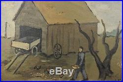 HERMAN MARIL Original Framed Oil On Canvas THE FARMER Artwork Signed1939 OBO