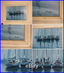 HOWARD SCHAFER Original Oil on Canvas Marine Painting of Sailboats in Harbor