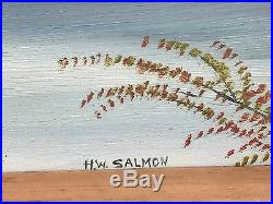 HW SALMON Mt Hood Original 1965 Mid Century Modern Landscape Oil on Board Oregon