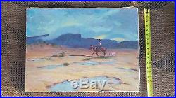Hand Signed William E. Johnson Original Oil on Canvas Western Painting horse/dog