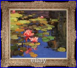 Hand-painted Original Oil painting art Impressionism Water lily On Canvas 20X24