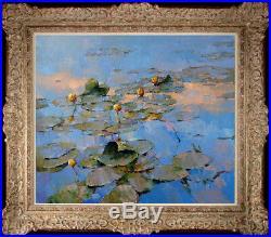 Hand-painted Original Oil painting art knife impression Lotus On Canvas 24