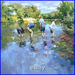 Hand-painted Original Oil painting art knife impression Small boy On Canvas 24