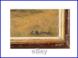 Harvest Scene Lovely Original Antique Oil On Canvas Painting, Signed