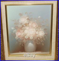 Hilton Original Oil On Canvas Floral Flower Vase Painting