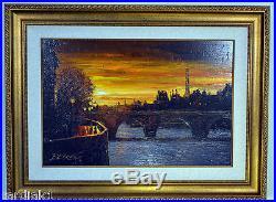 Howard Behrens ORIGINAL Art Oil Canvas Evening in Paris Twilight on the Seine