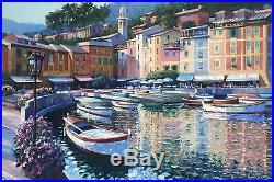 Howard Behrens ORIGINAL Art Oil on Canvas painting Large 4'x6' Portofino Bay