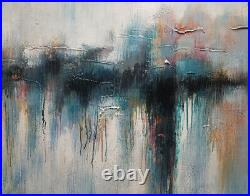 Hungryartist Large modern original abstract oil painting of red & green 30x40