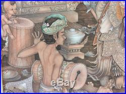 I Made Suarsa Bali Art Original Acrylic on Canvas, Signed, 26 1/2 x 33 (Image)