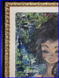 Igor Pantuhoff Nude Big Eyed Girl Original Oil Painting On Canvas Newly Framed