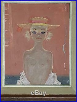 Igor Pantuhoff Nude Big Eyed Girl With A Hat Original Oil Painting On Canvas