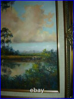 Important Judy Fuller Florida Everglades Landscape Oil Painting Mentor AE Backus