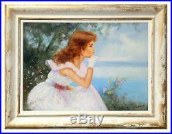 Italian Painting Girl On The Sea Original Oil Canvas Raffaele Fiore Italy Frame