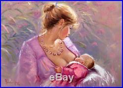Italian Painting Motherhood Original Oil Canvas Salvatore Rodriguez Italy Art