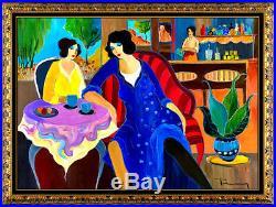 Itzchak Tarkay Large Original Oil Painting On Canvas Signed Portrait Cafe Art