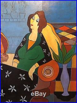 Izchak Tarkay Large Original Oil Painting On Canvas Three Ladies In A Cafe