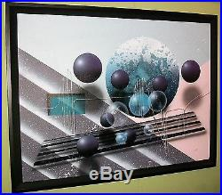 J. Kugler Original Acrylic on Canvas Abstract Painting Illusionism Oil 36 x 48