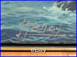 J. Renoy Original Seascape Oil On Canvas Painting