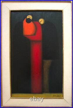 JESUS MARIANO LEUUS Signed 1964 Original Painting Mother, Child, Father