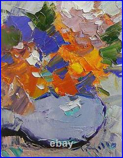 JOSE TRUJILLO Impressionist Oil Painting FRAMED Flowers in Vase Textured CANVAS