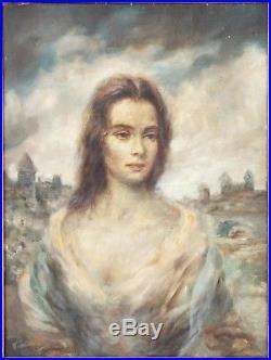 JOSEPH WALLACE KING (VINCIATA) ORIGINAL! Oil On Canvas Painting Vintage 1950's