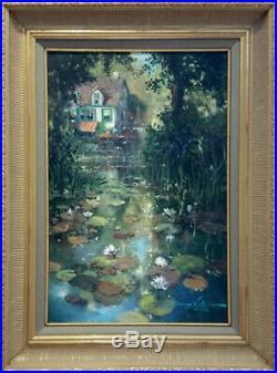 James Coleman Original Nestled Along the Pond Oil on Canvas Framed