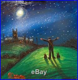 James Downie Original Painting Oil on Canvas Moon Light On Clear Night Free P&P