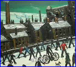 James Downie Original Painting Oil on Canvas Snowy Start In Mill Town Free P&P