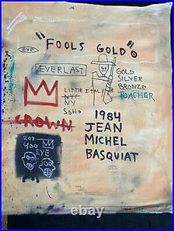 Jean Michel Basquiat LARGE Painting Original-Fools Gold- New York Gallery Stamp