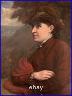 John Davidson 1895 ANTIQUE OIL Canvas PAINTING PORTRAIT Of Woman Framed