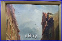 John Holland (1799-1870) Original Oil on Canvas Painting. England Street Scene