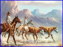 John Stanford Original Oil on Canvas Western Cowboy Horse Cattle Scene Very Nice